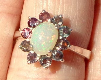 Sz 6.25, Ethiopian Welo Opal,Garnet Flower Ring,Sterling Silver Ring,All Natural Gemstones,Natural Opal,Gemstone Ring, OOAK