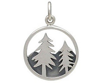 Mountain Charm, Tree Charm, Sterling Silver Mountain Charm, Mountain, Mountain with Trees, Silver Tree Charm, Silver Mountain Charm, Trees
