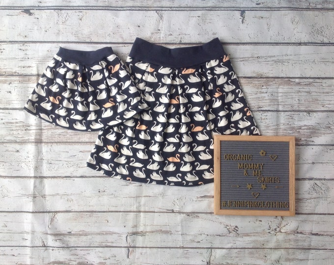 Mommy and Me Navy Swan Pleated Skirt