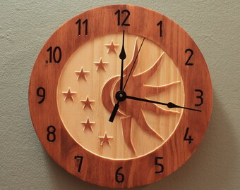 Pine celestial sun and moon clock Celestial clock Sun clock Moon clock Star clock Wall clock Wood clock Wooden wall clock Home clock