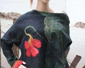 """Top and mittens in felt and silk, orange and green """"A poem..."""""""