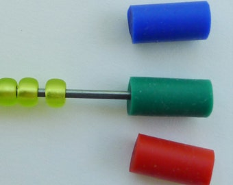 Beader Tips/Caps--Package of 3 (One each red, blue, green)