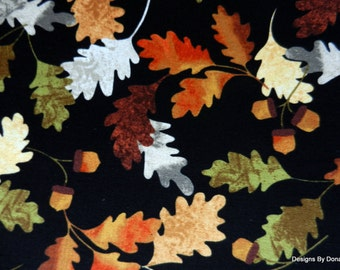 "One Fat Quarter Cut Quilt Fabric, ""Leaf into Autumn"" Oak Leaves & Acorns by Maria Kalinowski for Kanvas, Sewing-Quilting-Craft Supplies"
