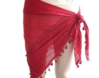 Bordeaux Beach Sarong, Boho cotton sarong, sarong for women, Bikini cover up, Gypsy Sarong, scarf for women, Beach Accessories