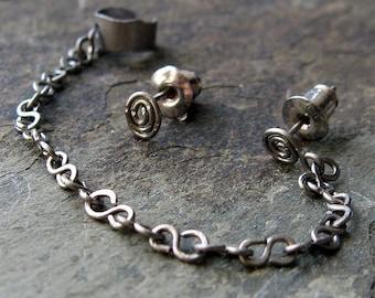 minimalist helix set, helix cuff set, earring cuff set, cuff earring set, helix ear cuff, upper ear cuff, cartilage-- slave by thebeadedlily