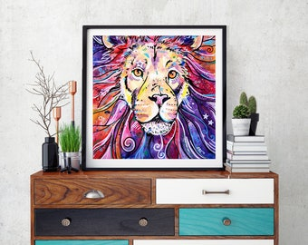 Lion, Lion art, Art print, Wall decor, Watercolor, Lion king, Africa, Lion art decor, Lion print, Lion, Safari, Cat