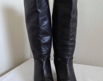 Vintage Black Leather Knee Boots With Kitten Heel - Cute!! UK Size 5.5