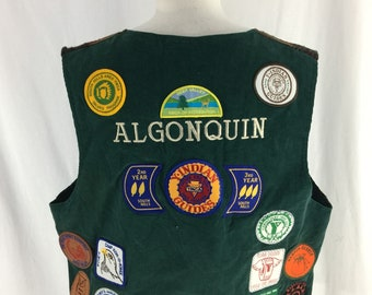 Vintage 90s Algonquin Native American YMCA Camp Outdoors Patch Vest