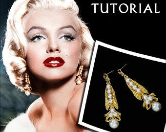 Marilyn Monroe Earring Beading Pattern Bead Tutorial Beadwork Stitching Seed Beadweaving Instruction Retro 50s Movie Star Gold Pearl Wedding