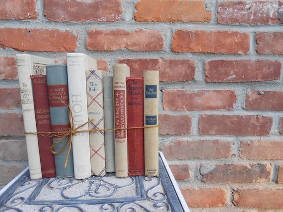 Sale: Vintage Instant Library. RED, GREY, & TAN Collection.  Vintage Home Decor. Cabin Decor