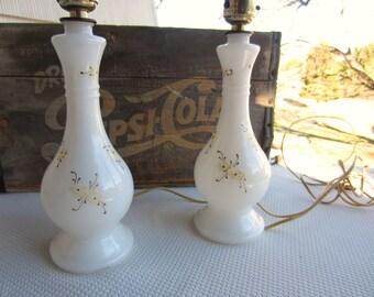 Vintage Pair White Milk Glass Lamps Handpainted Details