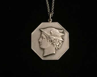 antique french mercury medallion necklace roman god