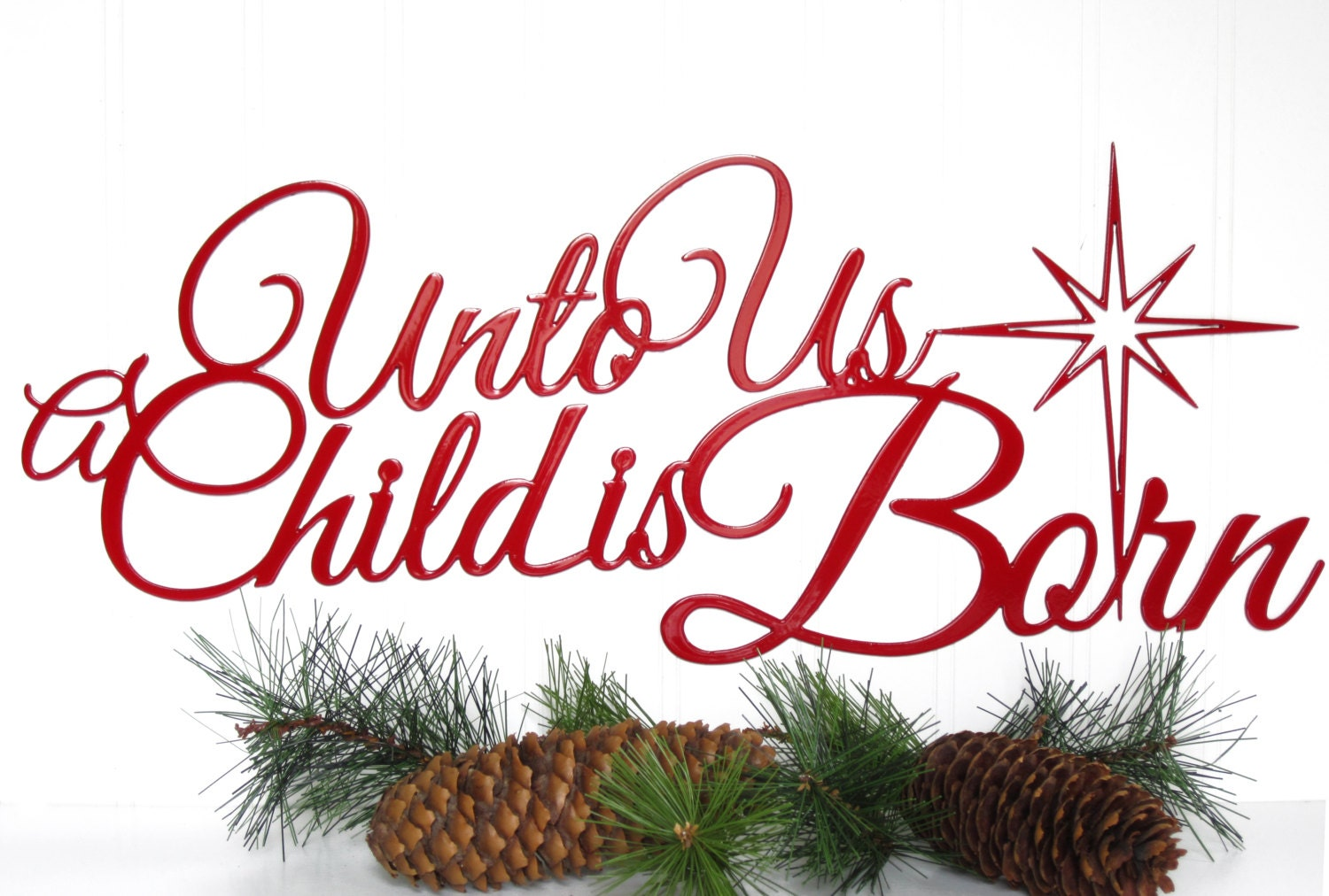 Unto Us A Child Is Born Christmas Metal Sign Red 19.5x8