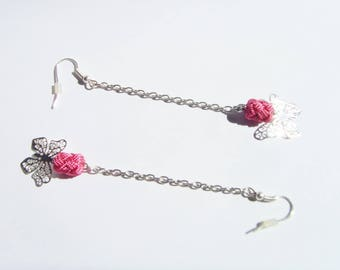 Fine earrings silver and pink long dark, butterflies and pearls.