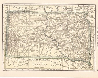 1908 State Map South Dakota - Vintage Antique Map Great for Framing 100 Years Old