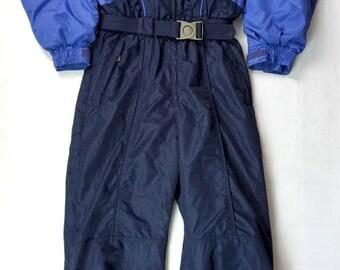 Vintage 90s COLUMBIA One Piece Snowsuit Women's Large Two Tone Blue Columbia Sportswear Snowmoblie Suit, Ski Suit 1 Piece, 90s Fashion