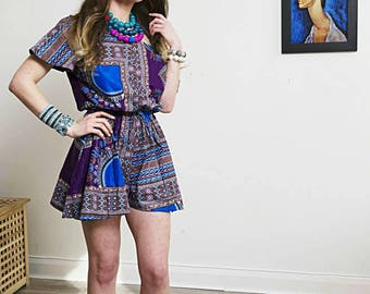 Penny playsuit shorts African fashion Purple romper dress playsuits African fabric printed Ankara shorts playsuit Dashiki Romper
