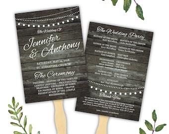 Rustic Wedding Program Fan Template, Rustic Fan Program, Rustic Fan Wedding Program, Rustic Chic Wedding Program, Printable Program Fans
