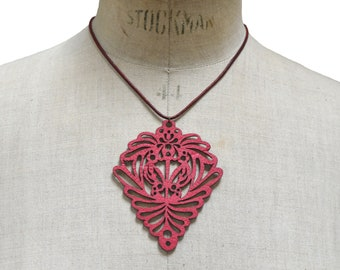 OPHELIA, Wearable Art, Statement Necklace, Bohemian Jewelry, Leather Jewelry, Laser Cut Leather, Fashion Accessories, Leather Necklace