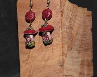 Red mushroom Fairy House earrings