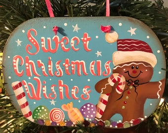 Christmas Ornament, Laurie Speltz, ornament, Gingerbread Man, Candy Cane, Candy, Christmas tree, ribbon, gumdrops, free shipping