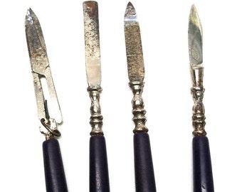 Vintage Miniature, Manicure Set 4 Tools, Germany, Vanity Set, Travel Set,