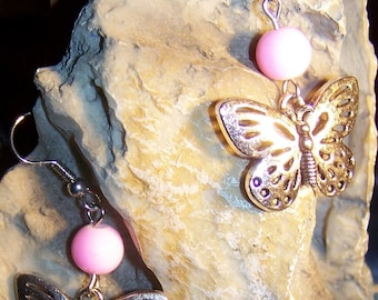 fantasy butterfly, light pink glass beads earrings