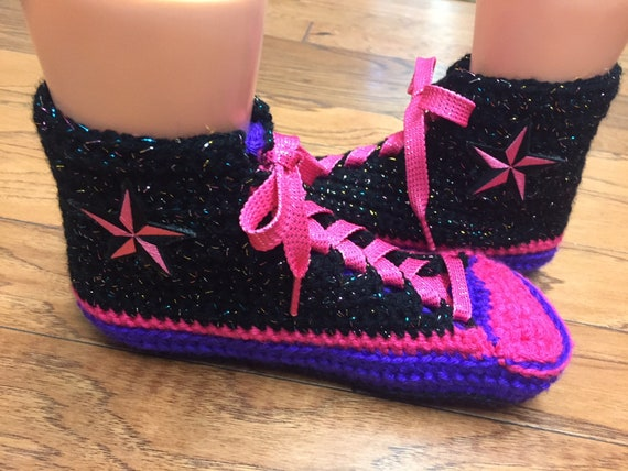 sneaker Womens inspired converse pink Converse slippers slippers 10 355 converse high tennis 8 crocheted converse converse crochet shoe top qX1qpfASZw