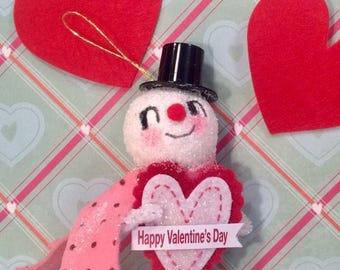 Valentine ornament valentine snowman vintage retro inspired art doll happy Valentine's Day token of love
