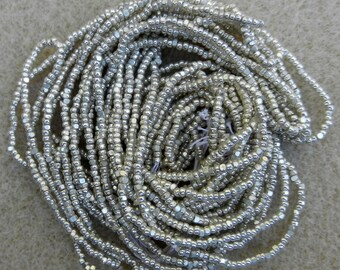 """Vintage Preciosa Ornela True Cut 13/0 Silvered Glass Seed Bead 10 Strand 10"""" Hanks For Jewelry, Embroidery, Bead Weaving And Embellishment"""