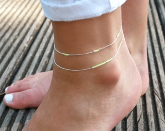Set of 2 sterling silver thin anklet - Bright yellow - beach bracelet - ankle bracelet silver - colorful jewelry -delicate thin anklet