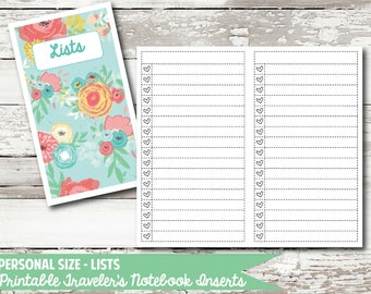 Personal Size - Lists PRINTABLE Insert for Traveler's Notebooks