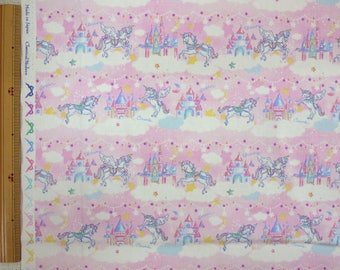 2018 Classical and Modern Japanese Fabric  / Unicorn Castle Pink - 50cm x 110cm