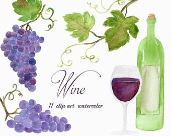 Buy 3 for 9 USD - Handpainted watercolor Clip Art Wine, Grape, Vineyard, Cards INSTANT DOWNLOAD