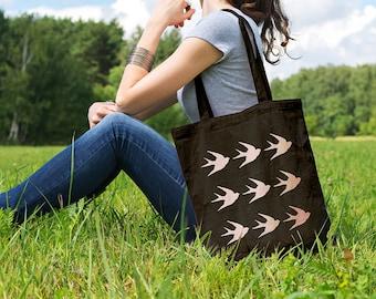 Swallows Pattern, Canvas Tote Bag, Shopping Bag, Gift for Her, Cotton Tote Bag, Shopper, Canvas Bag, Market Bag, Grocery Bag, Reusable