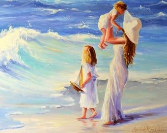 AT THE SEASIDE Print of Original Oil Painting, mother and kids on beach