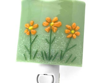 Night Light, Decorative Green with Orange Flowers,  Wall Plug-in, Large