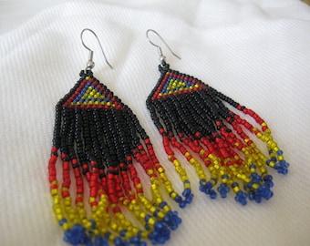 Vintage 1980's Hand Made Native American Beaded  Long Chandelier Earrings for Pierced Ears