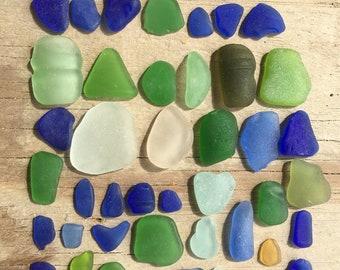 Enchanted Lime Cobalt Blue Sea Foam Olive Bright Genuine Puerto Rico Sea Glass DIY Craft Jewelry