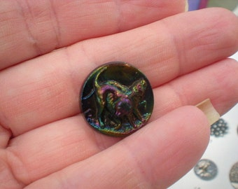 19th Century Victorian 1890s Black Glass 3D Dog Button Iridescent