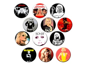 "12 Blondie Badges - Pack of 12 Small 1.25"" Pin Back Buttons - Blondie with Debbie Harry - One Dozen Small Pins"