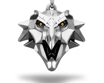 Griffin pendant inspired by Wild Hunt game made from white bronze