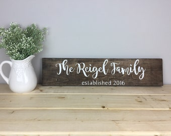 Established Family Name Sign | Custom Wooden Family Sign | Wooden Signs for Home | Wedding Gift | Personalized Family Sign