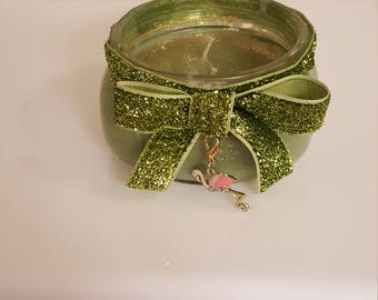 Green Sparkle and Glitter Candle