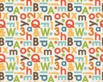 Riley Blake - Fabric by the HALF yard - School Days - ABC Cream