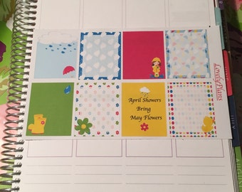 Planner Stickers: April showers full boxes