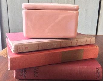 Pink Trinket Box Square Ceramic Dressing Table Vanity Stash Vintage 1950s