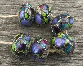 Silverreactions - 6 handmade lampwork beads (34)