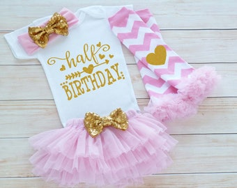 Baby Half Birthday Outfit, Cake Smash Shirt, Half Birthday Outfit Girl, 6 Month Birthday, Half Way To One Bodysuit, Half Birthday Outfit,