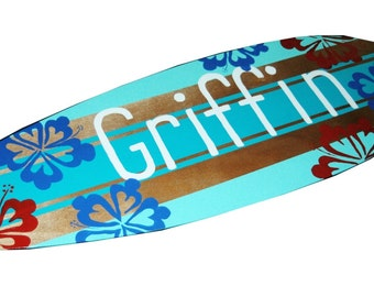 Surfer Wall Art, Surfboard Art, Personalized Kids Beach Decor